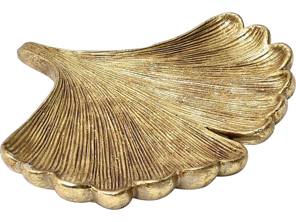 Πιατάκι κοσμημάτων Mini Μπιζουτιέρα σε σχήμα εξωτικού φύλλου, σε χρυσό χρώμα, διαστάσεις 14.4x15.2x1.7 εκατοστά, Art Deco - Aria Trade