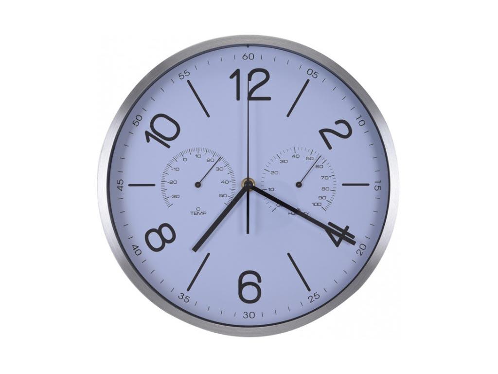Διακοσμητικό Ρολόι Τοίχου από αλουμίνιο, με ένδειξη θερμοκρασίας και υγρασίας, σε 2 χρώματα, διαστάσεις 30x30x4 εκατοστά, YP7165100 Λευκό - Aria Trade