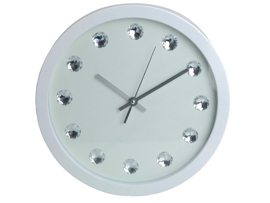 Διακοσμητικό Ρολόι Τοίχου με μεταλλικούς δείκτες και ενδείξεις κρύσταλλα σε 2 χρώματα, διαμέτρου 30 εκατοστών Λευκό - Aria Trade
