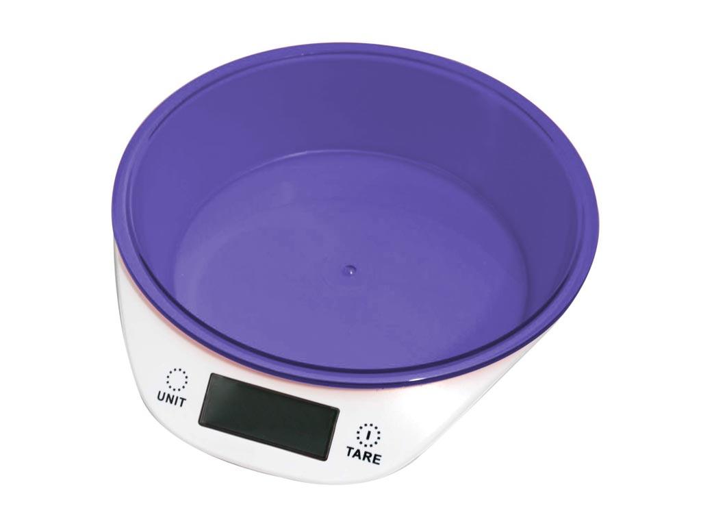 Ψηφιακή Ζυγαριά Κουζίνας με αποσπώμενο μπολ έως 5KG, σε 4 χρώματα, διαστάσεις 18.5x21.5x5 εκατοστά Μωβ - Cuisinier