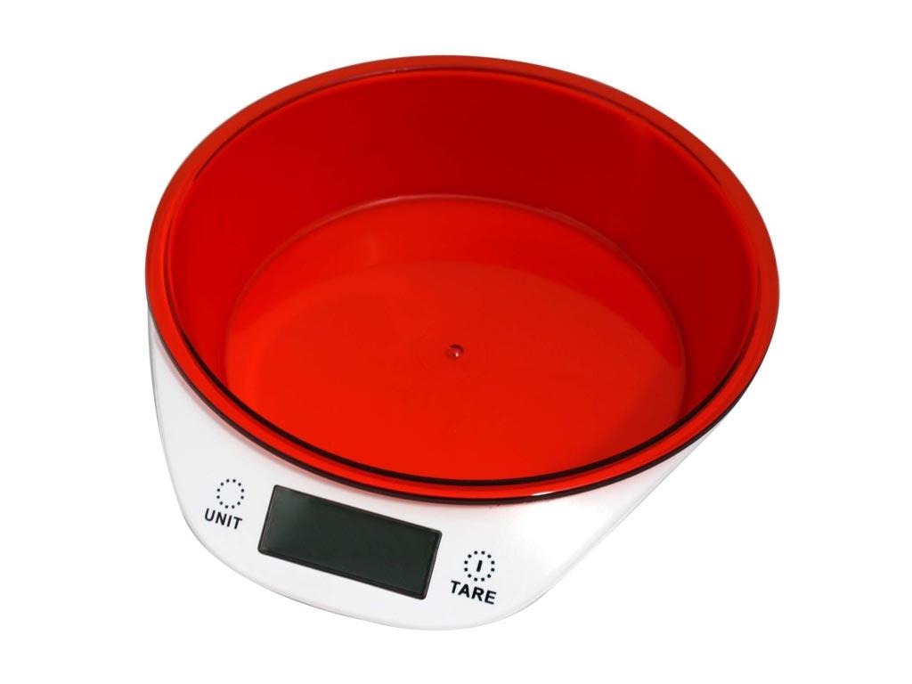 Ψηφιακή Ζυγαριά Κουζίνας με αποσπώμενο μπολ έως 5KG, σε 4 χρώματα, διαστάσεις 18.5x21.5x5 εκατοστά Κόκκινο - Cuisinier