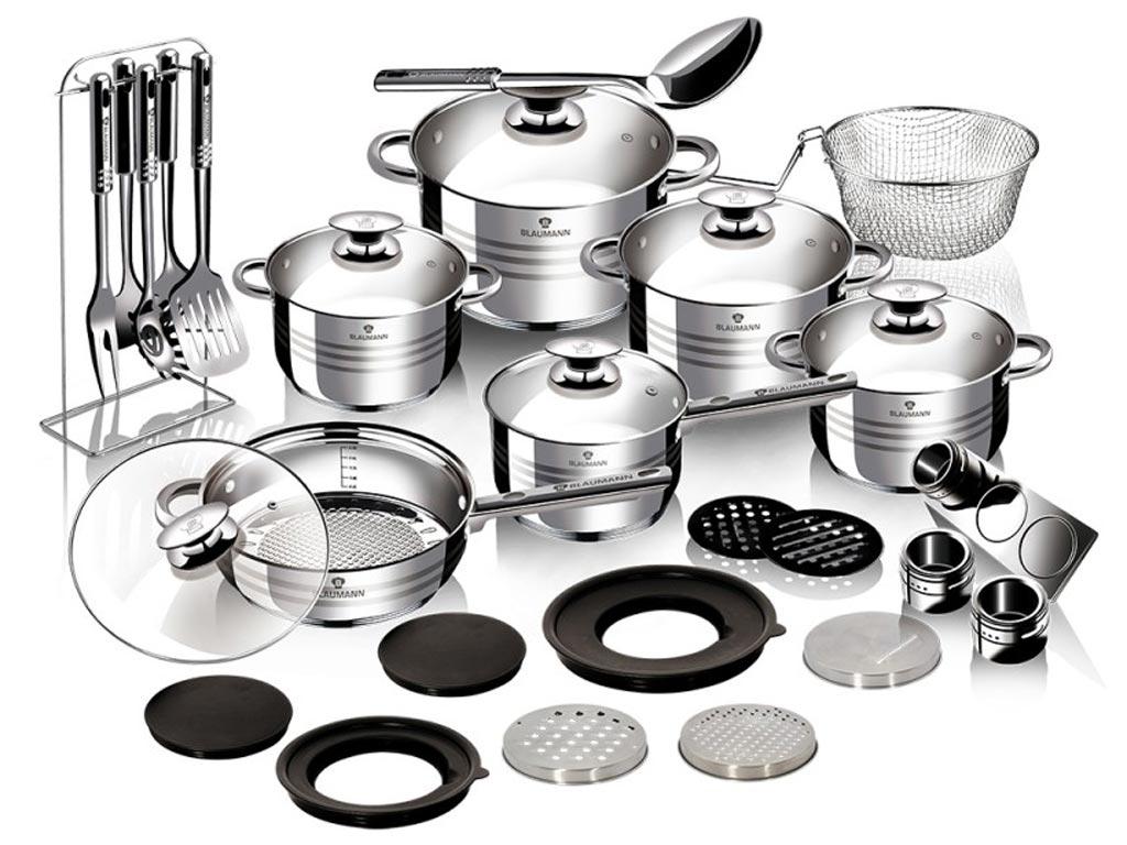 Blaumann Σετ με μαγειρικά σκεύη και αξεσουάρ κουζίνας 32 τεμαχίων από ανοξείδωτο ατσάλι, σε Jumbo συσκευασία, Gourmet Line, BL-3168Β - Blaumann