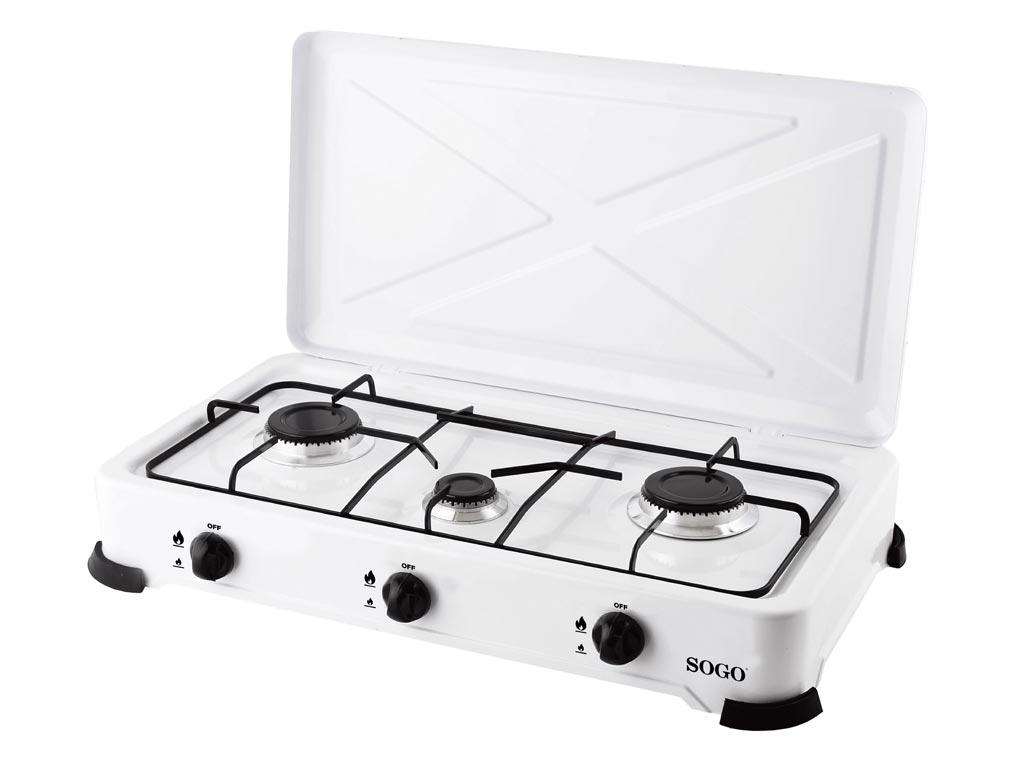 Φορητή Εστία Υγραερίου Βουτανίου με ρύθμιση θερμοκρασίας και τρείς εστίες σε Λευκό χρώμα, Sogo COC-SS-10225 - SOGO