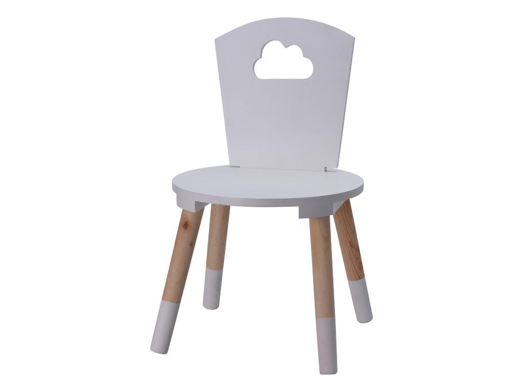 Παιδική Ξύλινη Καρέκλα με σχέδιο συννεφάκι σε Γκρι χρώμα, 32x32x50cm - Aria Trade