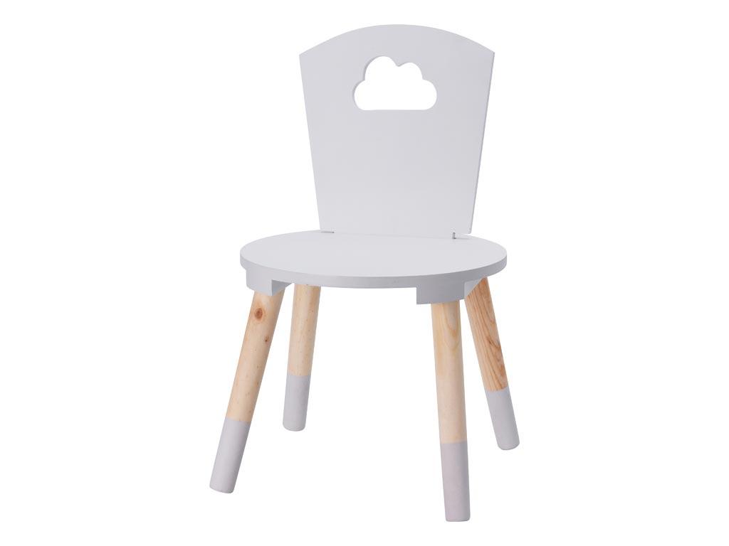 Παιδική Ξύλινη Καρέκλα με σχέδιο συννεφάκι σε Λευκό χρώμα, 32x32x50cm - Aria Trade