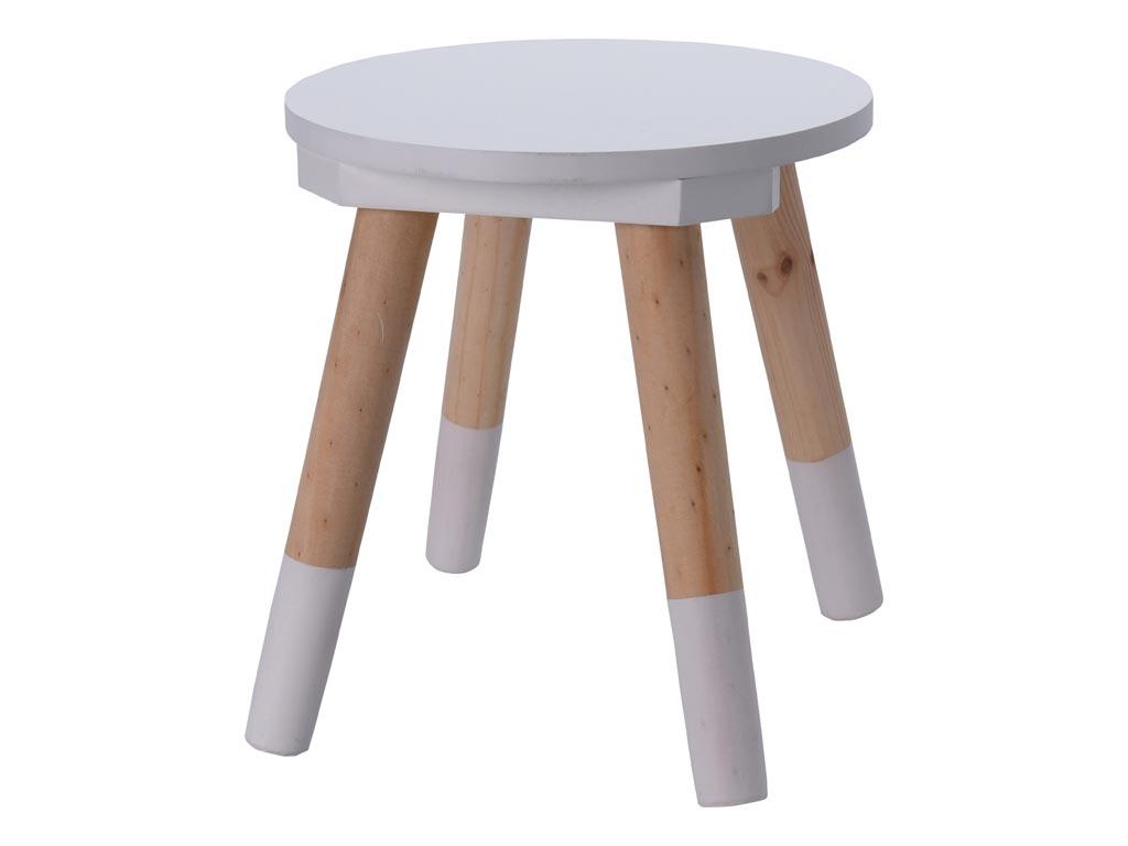 Παιδικό Ξύλινο Σκαμνί Σκαμπό με 4 ξύλινα πόδια με διαστάσεις 26x26x55 εκατοστά - Aria Trade
