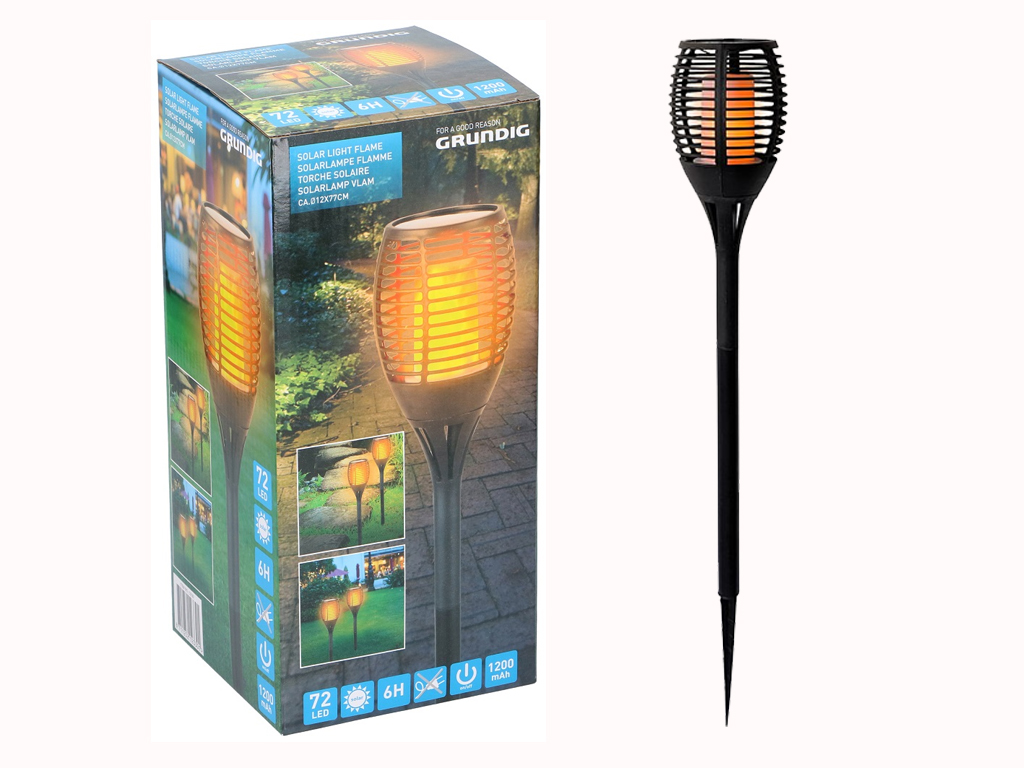 Grundig Solar Ηλιακός Πυρσός κήπου με Κινούμενη Φλόγα και σχέδιο Tribal, με 72 LED, ύψους 78 εκατοστά - Grundig
