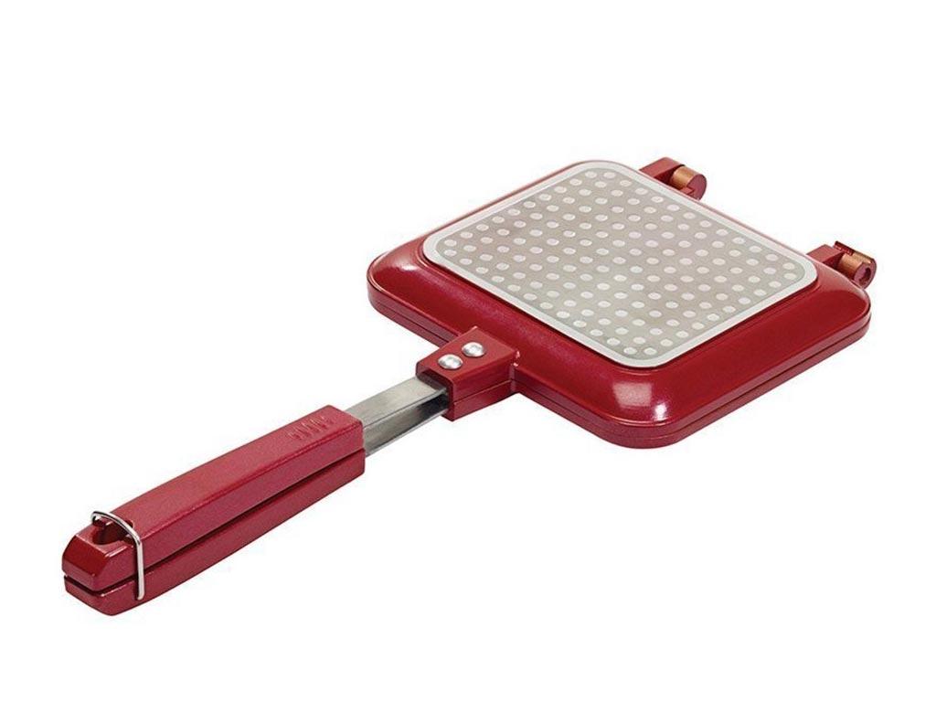 Τοστιέρα - Γκριλιέρα με Αντικολλητικές Πλάκες, σε κόκκινο χρώμα, διαστάσεις 37x18x5 εκατοστά, RCW001 - Aria Trade