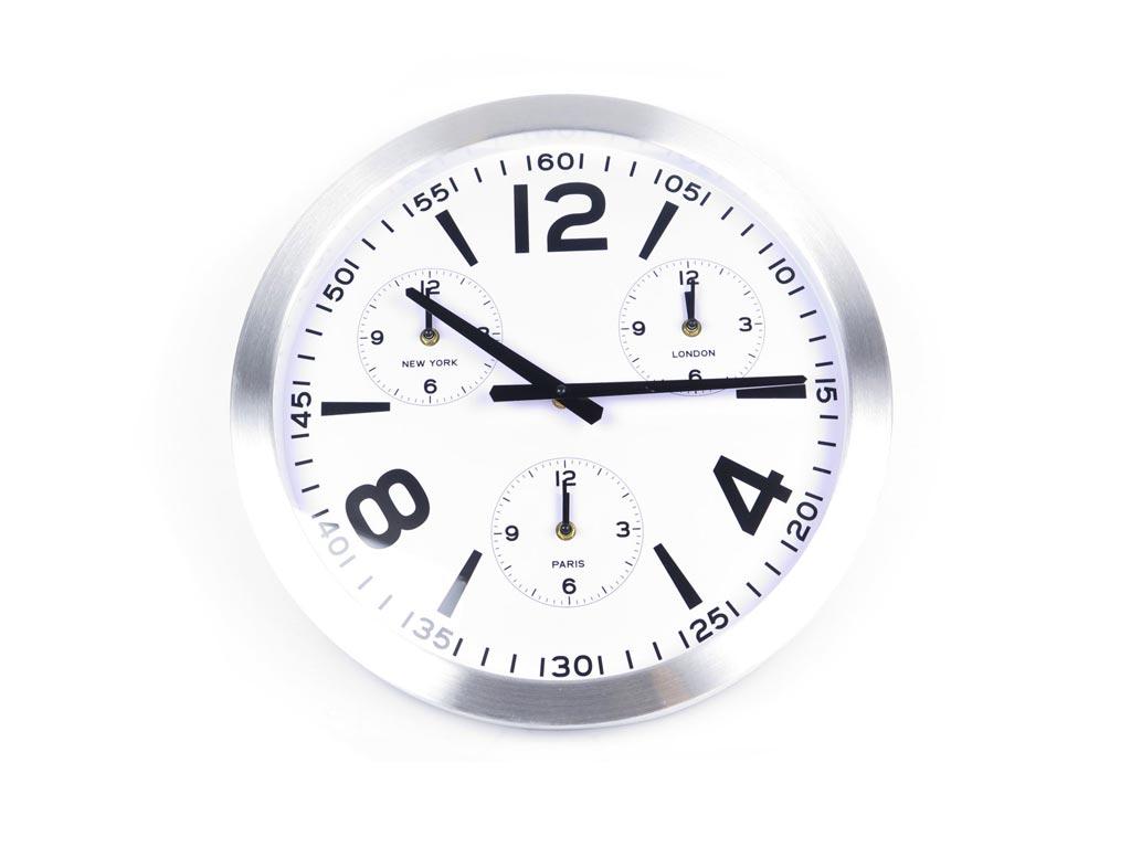 Διακοσμητικό Ρολόι Τοίχου Παγκόσμιο Ρολόι, σε 2 χρώματα, με διάμετρο 45 εκατοστά, YP7165090 Λευκό - Emako