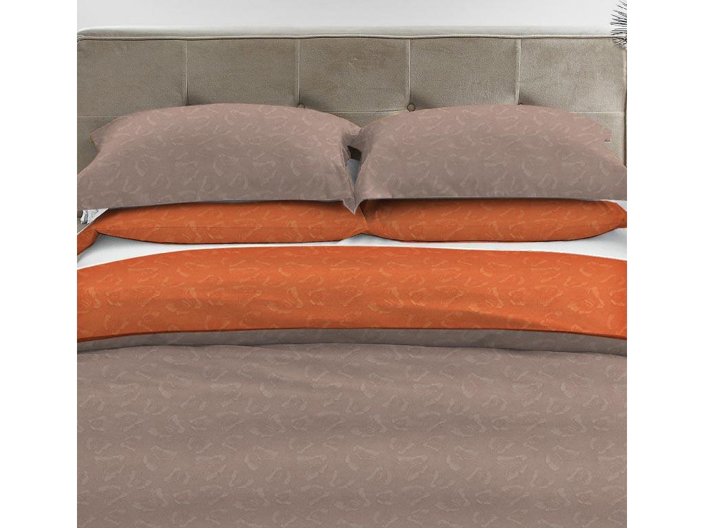 Σετ Υπέρδιπλο Σεντόνι Μονόχρωμο με Ανάγλυφο Σχέδιο και 2 Μαξιλαροθήκες, διαστάσεις 220x240 εκατοστά, σε 9 χρώματα Καφέ Ανοιχτό-Πορτοκαλί - Vous & Nous