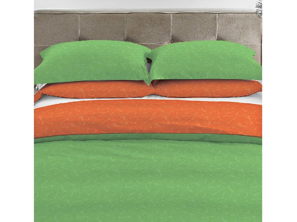 Σετ Υπέρδιπλο Σεντόνι Μονόχρωμο με Ανάγλυφο Σχέδιο και 2 Μαξιλαροθήκες, διαστάσεις 220x240 εκατοστά, σε 9 χρώματα Λαχανί-Πορτοκαλί - Vous & Nous