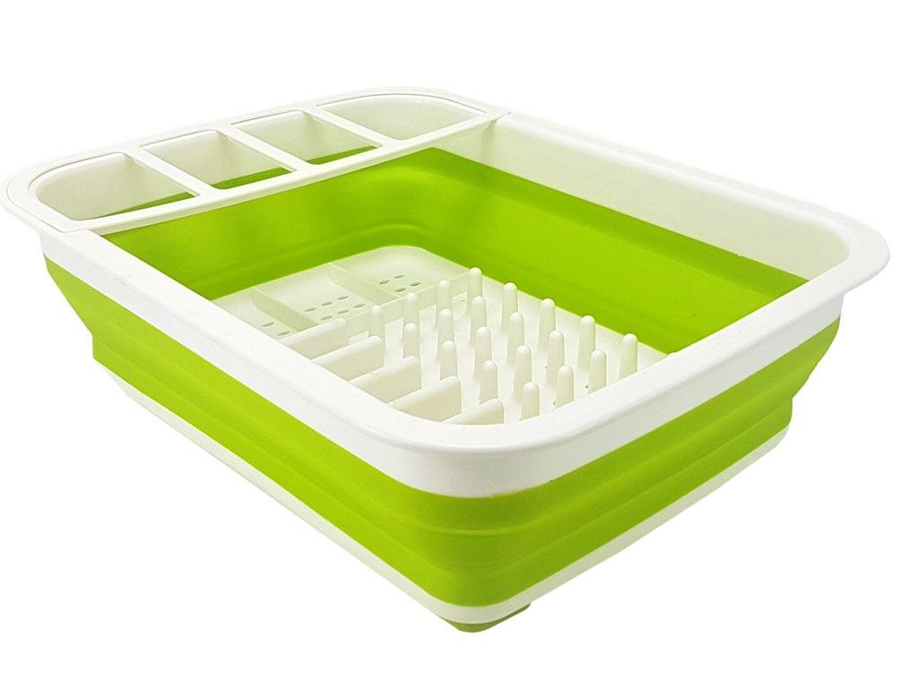 Πλαστική Πτυσσόμενη Πιατοθήκη σε 4 χρώματα, διαστάσεις 38x29.5x12 εκατοστά Πράσινο - Dunlop
