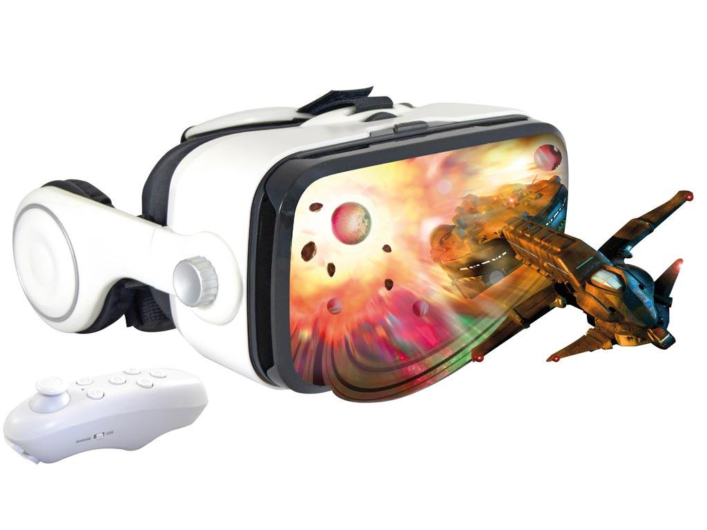 Γυαλιά Εικονικής Πραγματικότητας 3D-VR Virtual Reality Glasses, με Ενσωματωμένα Ακουστικά και Joystick, για Smartphones 3.5''-6''