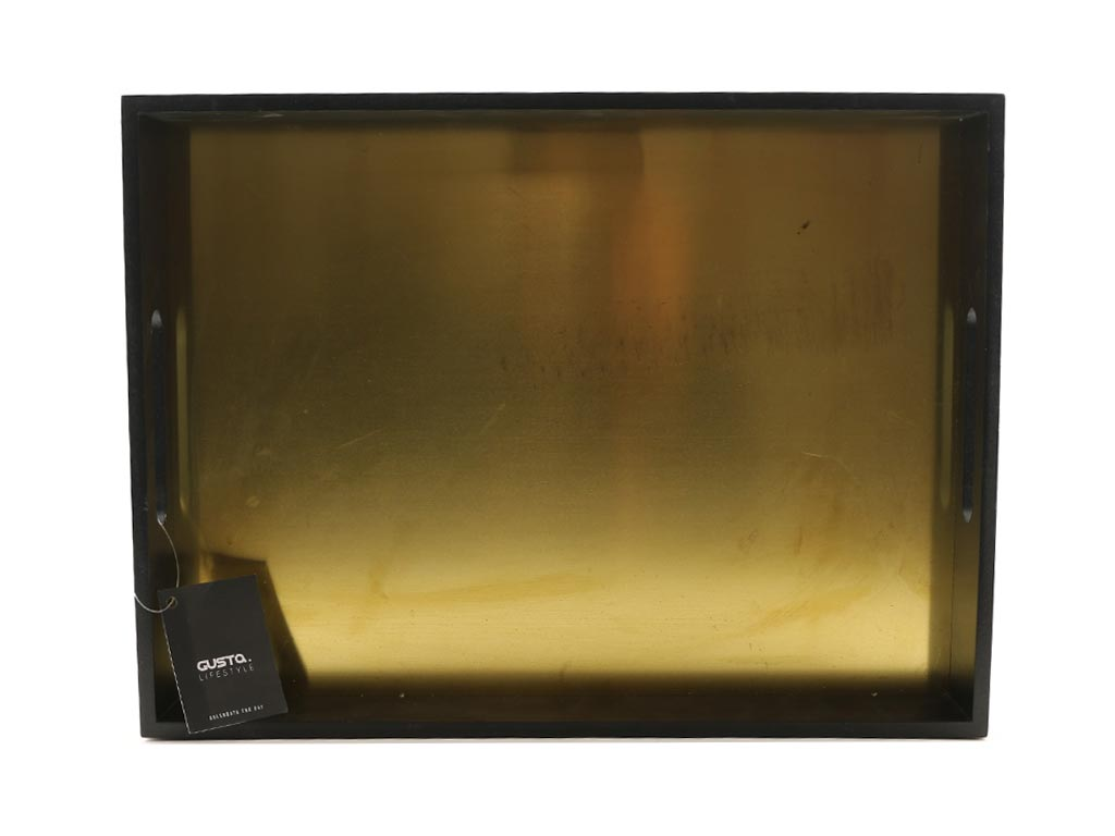 Ξύλινος Δίσκος Σερβιρίσματος σε Μαύρο χρώμα με Χρυσή εσωτερική επιφάνεια, 40x30x5cm, Gusta Lifestyle - Aria Trade