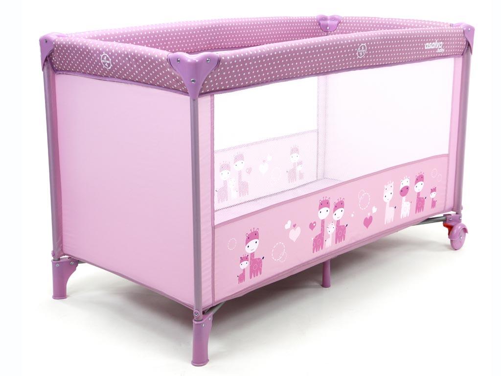 Asalvo Baby Παιδικό πτυσσόμενο παρκοκρέβατο ιδανικό για παιδιά ηλικίας έως 3 ετών και έως 15 κιλά, σε Ροζ χρώμα, Balears Giraffes Pink - Asalvo