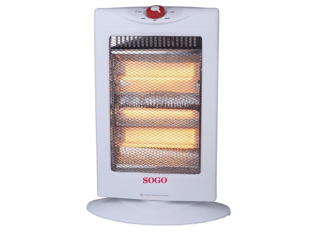 Σόμπα Αλογόνου 1200W με 3 επίπεδα θερμότητας σε Λευκό χρώμα, 49x35x20cm, Sogo CAL-SS-18355 - SOGO