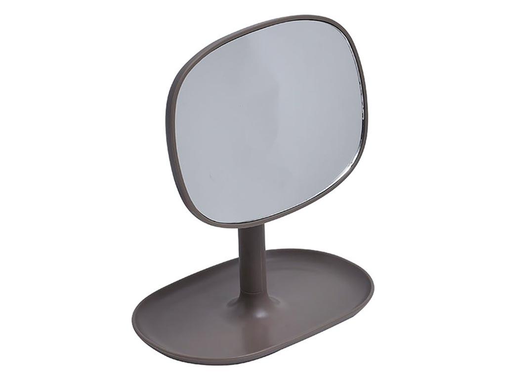 Επιτραπέζιος Καθρέφτης σε σχήμα Οπίσθιου Κατόπτρου, σε γκρίζο χρώμα, διαστάσεις 16x10.5x20 εκατοστά - Aria Trade