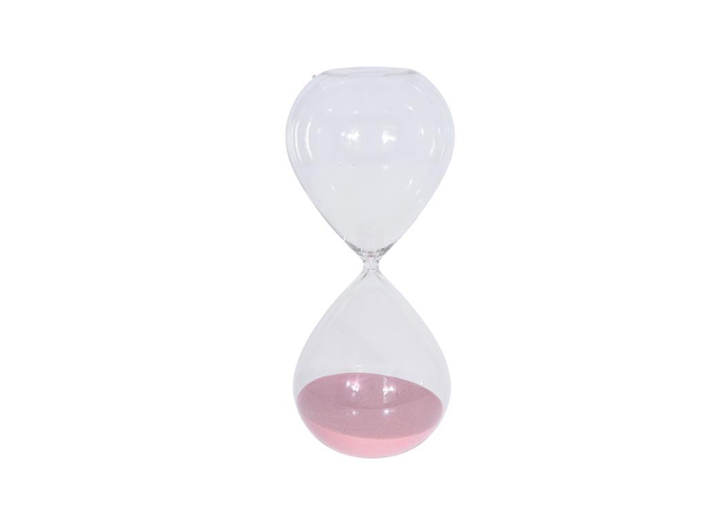 Γυάλινη Κλεψύδρα αντίστροφης μέτρησης 3 ωρών σε 4 χρώματα, 16x16x38cm Ροζ - Aria Trade