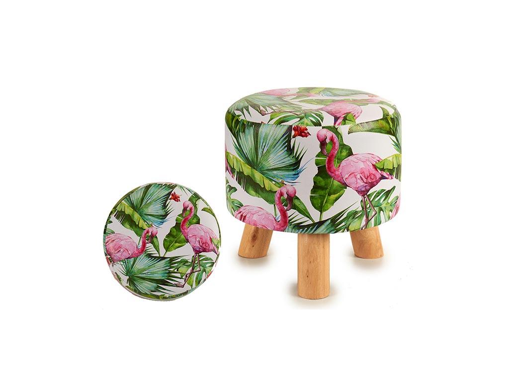 Ξύλινο Σκαμνί Σκαμπό με Υφασμάτινο Κάθισμα και σχέδιο Flamingo, 28x28x28cm - Aria Trade