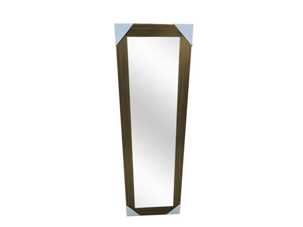 Ξύλινος Καθρέφτης σε Ορθογώνιο σχήμα, κατάλληλος για διακόσμηση Ύψους 131 cm Καφέ - Cb