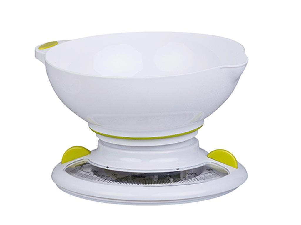 Αναλογική Ζυγαριά Κουζίνας με μπολάκι σε 4 χρώματα και μέγιστο βάρος 3 κιλά, 22x12.5x20 cm Κίτρινο - Cuisine Elegance