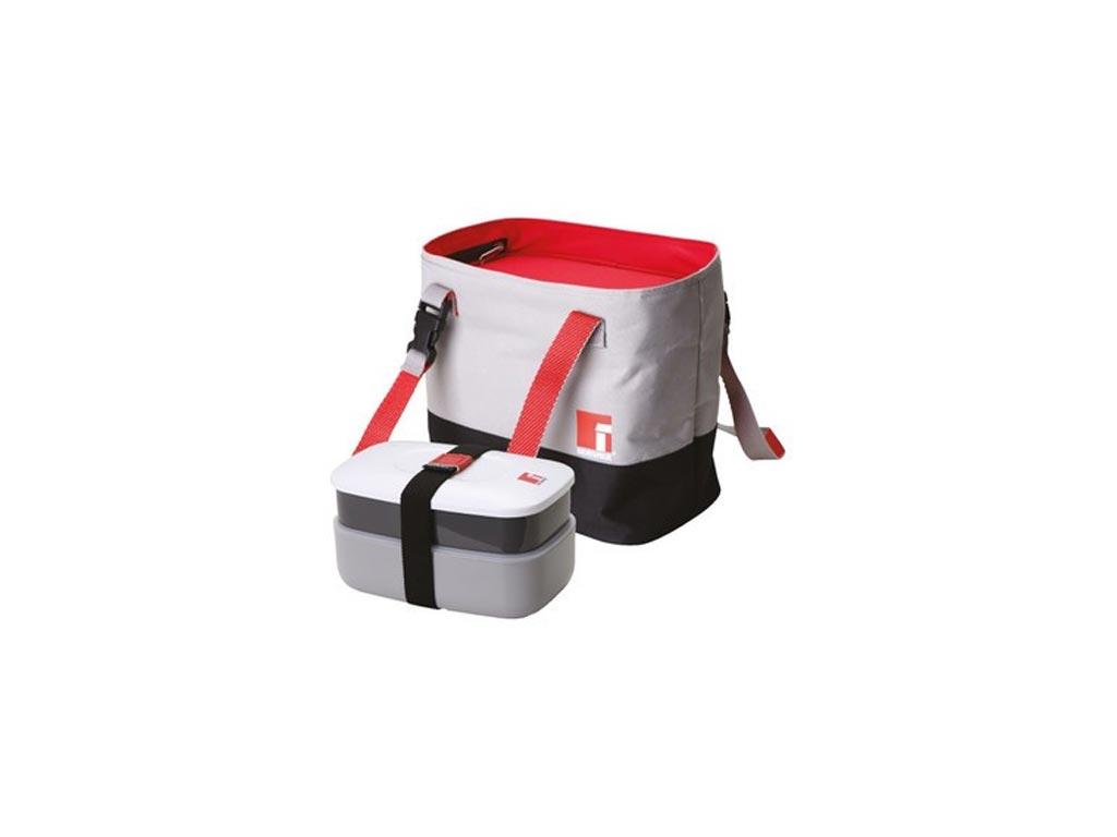 Φαγητοδοχείο Lunchbox και Τσάντα Lunchbag σε γκρι χρώμα, 22x5.5x22 cm, Bergner BG-5757-RD - Bergner