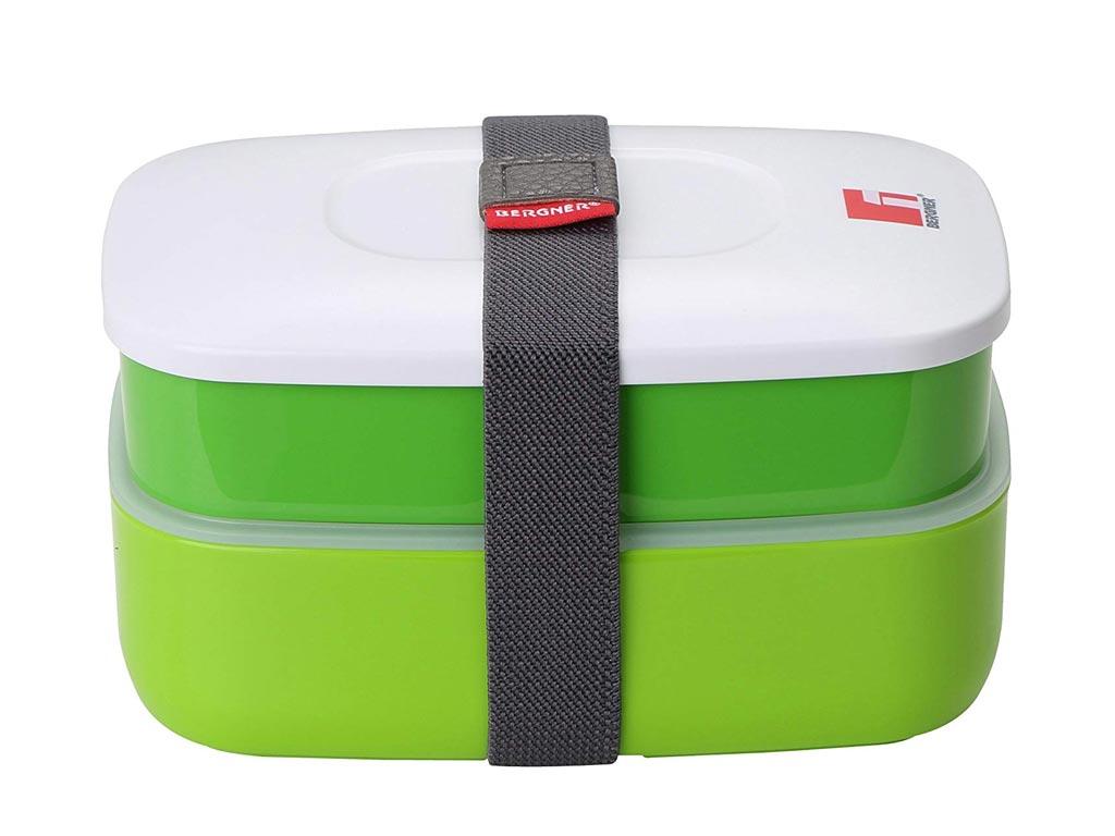 Φαγητοδοχείο Lunchbox 2 επιπέδων 1.2L με ιμάντα ασφαλείας σε πράσινο χρώμα, Bergner BG-5752-GR – Bergner