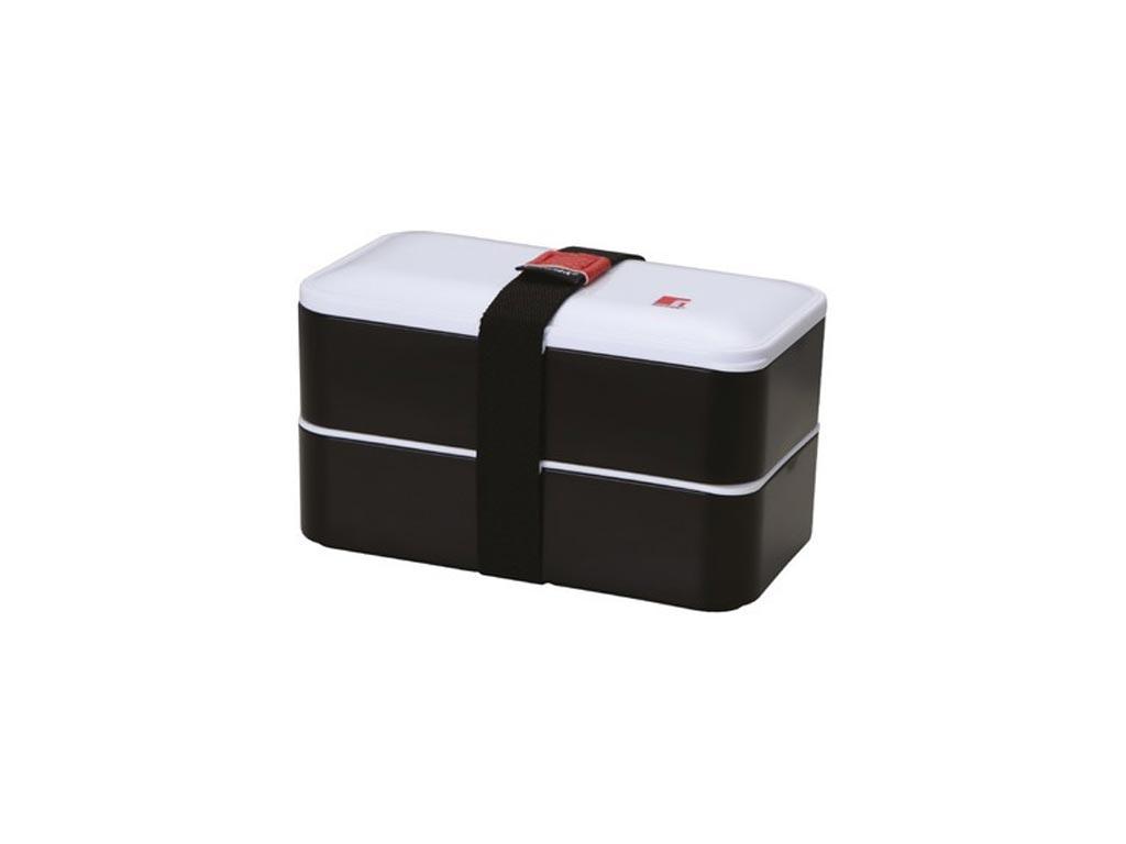 Φαγητοδοχείο Lunchbox 2 επιπέδων 1.2L με ιμάντα ασφαλείας σε μαύρο χρώμα, Bergner BG-5754-BK – Bergner