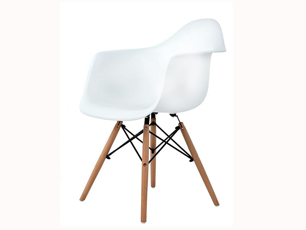 Καρέκλα Τραπεζαρίας και κουζίνας, εσωτερικού χώρου με ξύλινο σκελετό και πλαστικό κάθισμα, διαστάσεις 80x62x60cm - Aria Trade