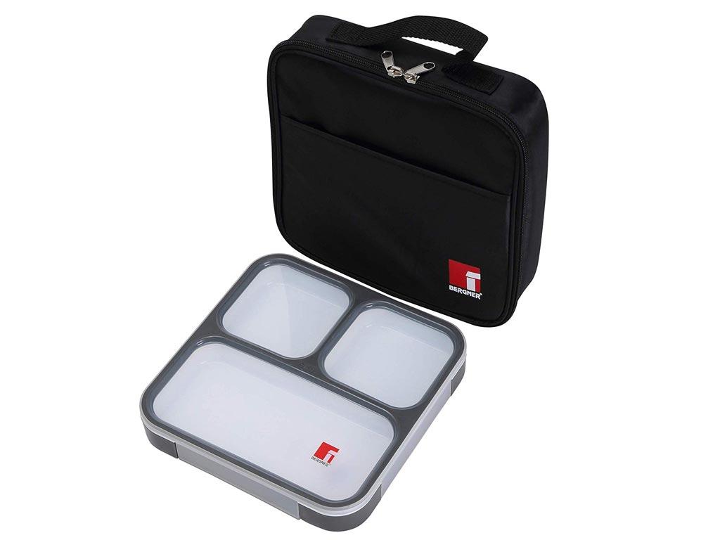 Φαγητοδοχείο Lunchbox και Τσάντα Lunchbag σε μαύρο χρώμα, 22x5.5x22 cm, Bergner BG-5756-BK - Bergner
