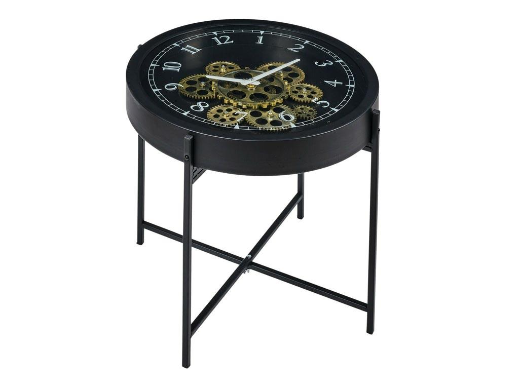 Βοηθητικό Στρογγυλό τραπεζάκι Ρολόι σε μαύρο χρώμα, 40x40x42 cm - Aria Trade