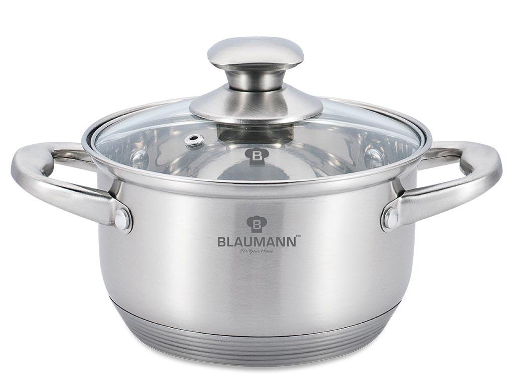 Blaumann Κατσαρόλα 22cm από Ανοξείδωτο Ατσάλι με γυάλινο καπάκι και πάτο Induction, Satin Gourmet Line BL-3457 – Blaumann