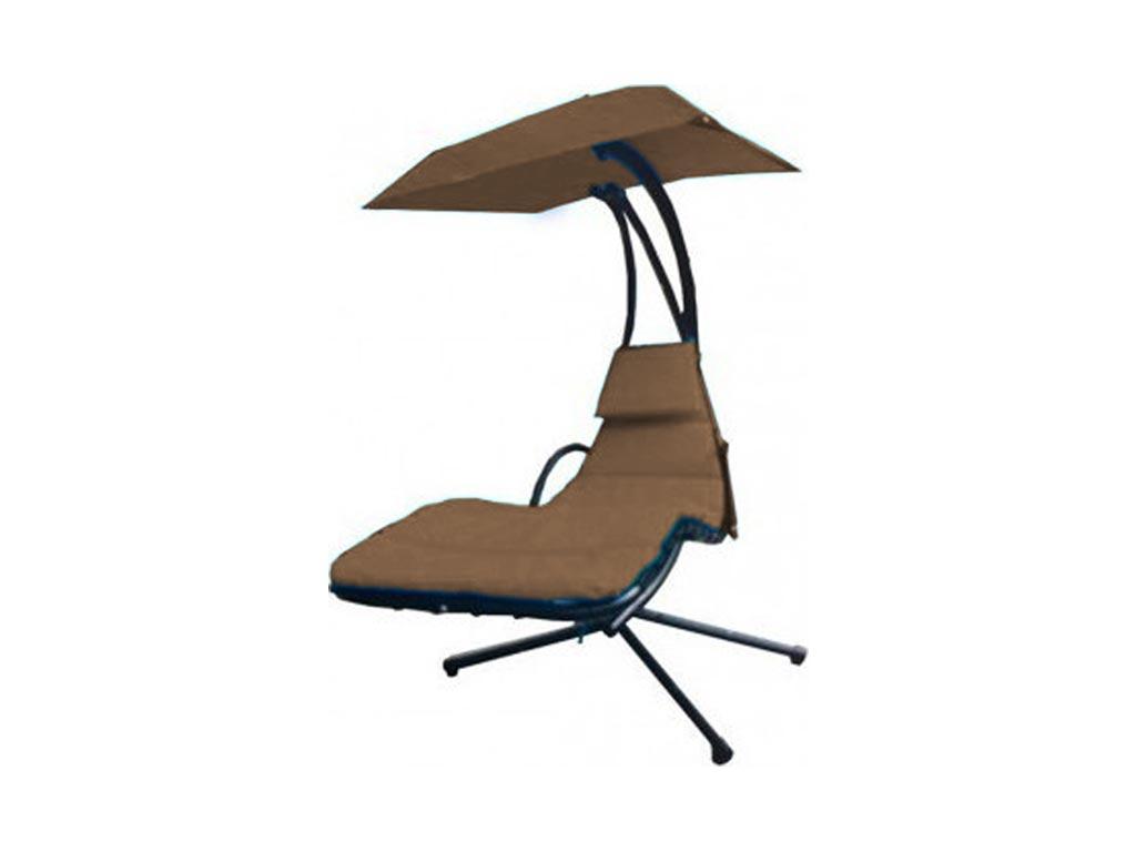 Μεταλλική Αδιάβροχη Κρεμαστή Ξαπλώστρα Αιώρα με ομπρέλα και ολόσωμο μαξιλάρι σε 6 χρώματα Καφέ - Aria Trade