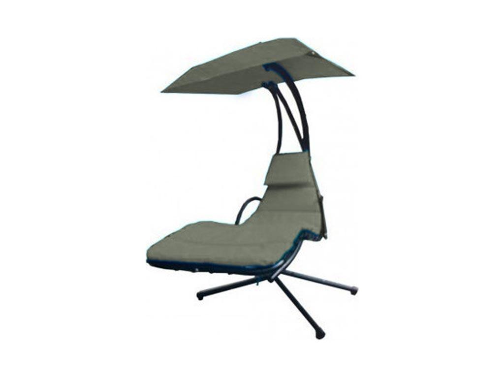 Μεταλλική Αδιάβροχη Κρεμαστή Ξαπλώστρα Αιώρα με ομπρέλα και ολόσωμο μαξιλάρι σε 6 χρώματα Γκρι - Aria Trade