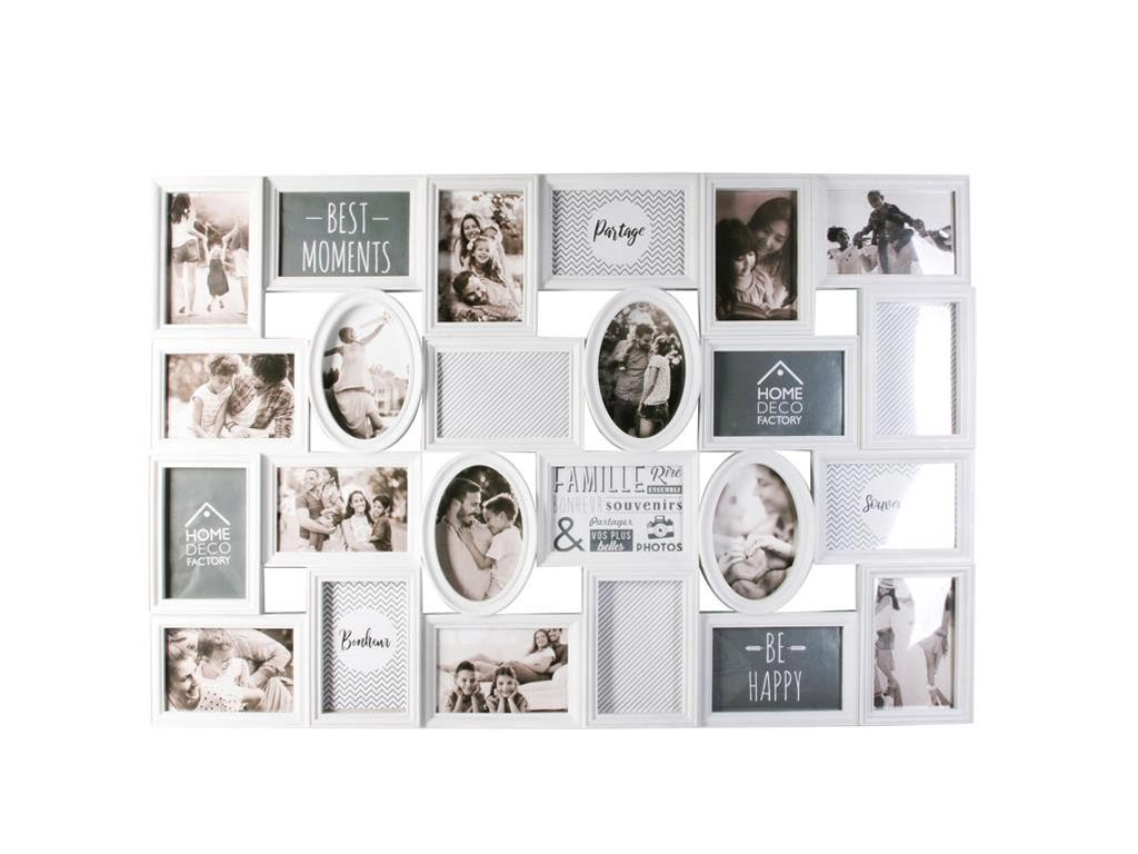 Κορνίζα Τοίχου για 24 φωτογραφίες σε λευκό χρώμα, 58x87x4 cm - Aria Trade