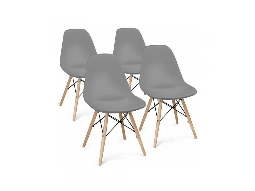 Σετ Καρέκλες Τραπεζαρίας, Κουζίνας 4 τεμαχίων σε γκρι χρώμα με ξύλινο σκελετό - Aria Trade