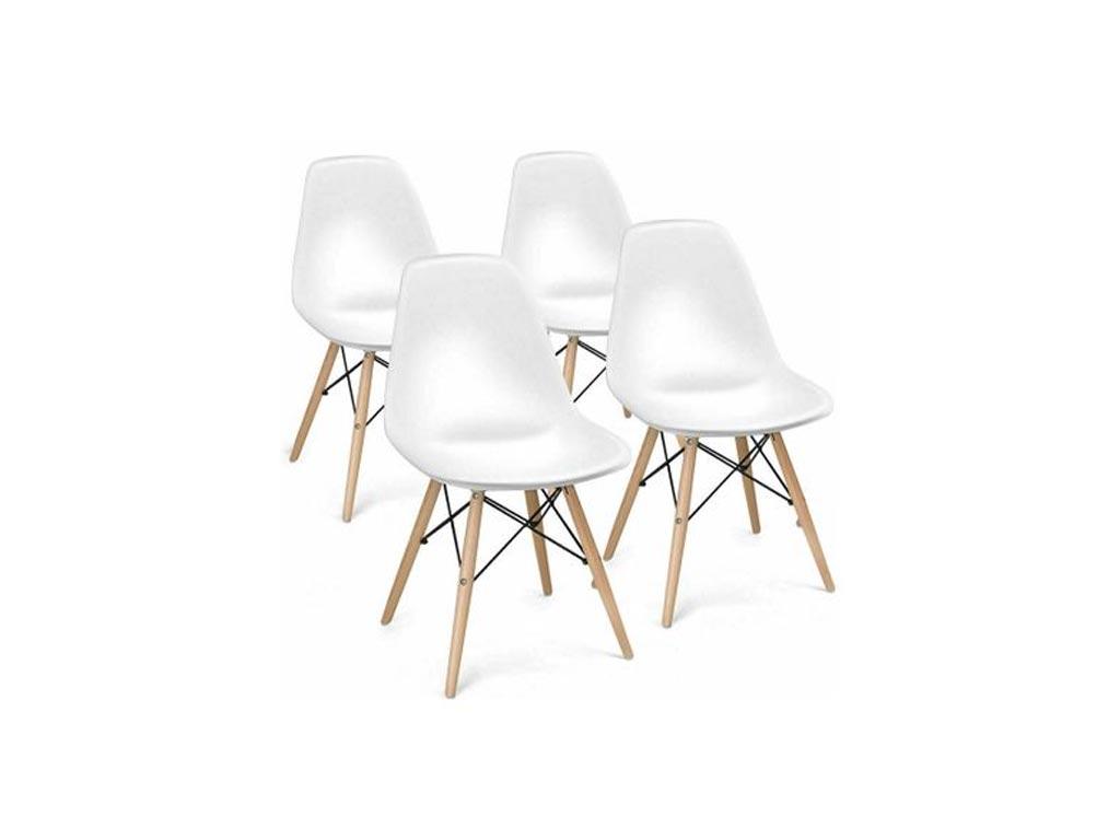 Σετ Καρέκλες Τραπεζαρίας, Κουζίνας 4 τεμαχίων σε λευκό χρώμα με ξύλινο σκελετό - Aria Trade