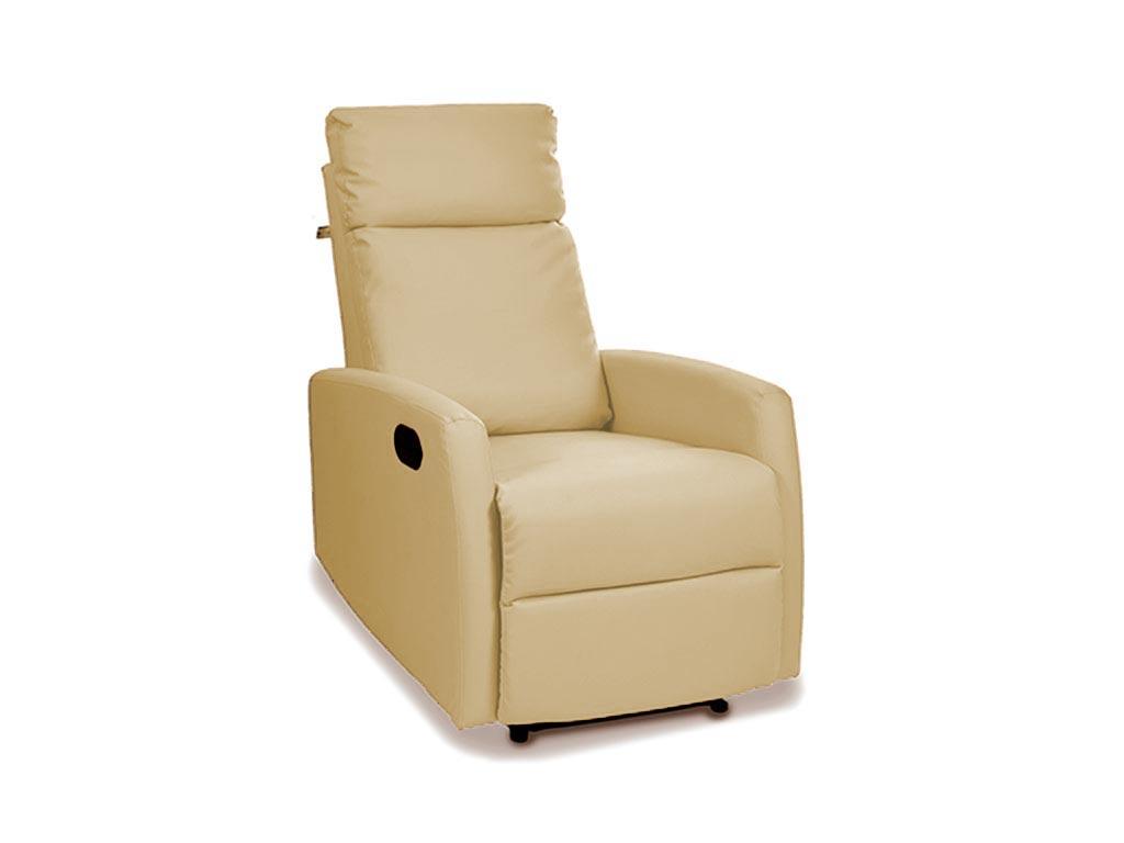 Αναπαυτική πολυθρόνα κρεβάτι Relax 3 θέσεων σε μπεζ χρώμα, 94x64x1m - Aria Trade