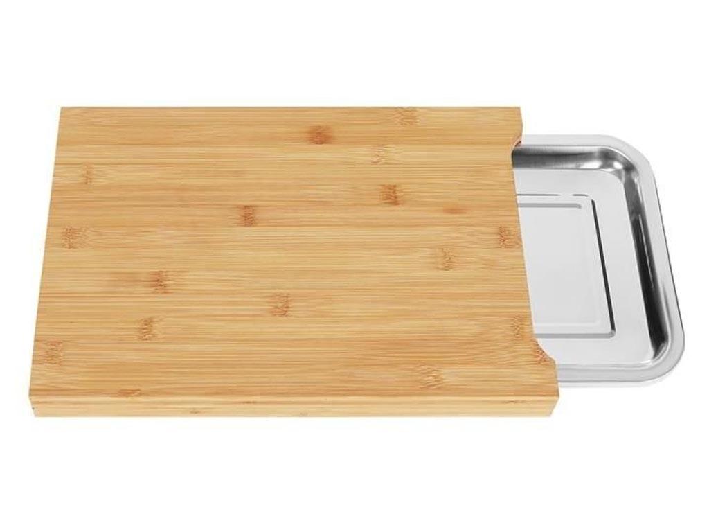Ξύλινη βάση κοπής με συρόμενο δίσκο, 35x25x3.5 cm - Aria Trade