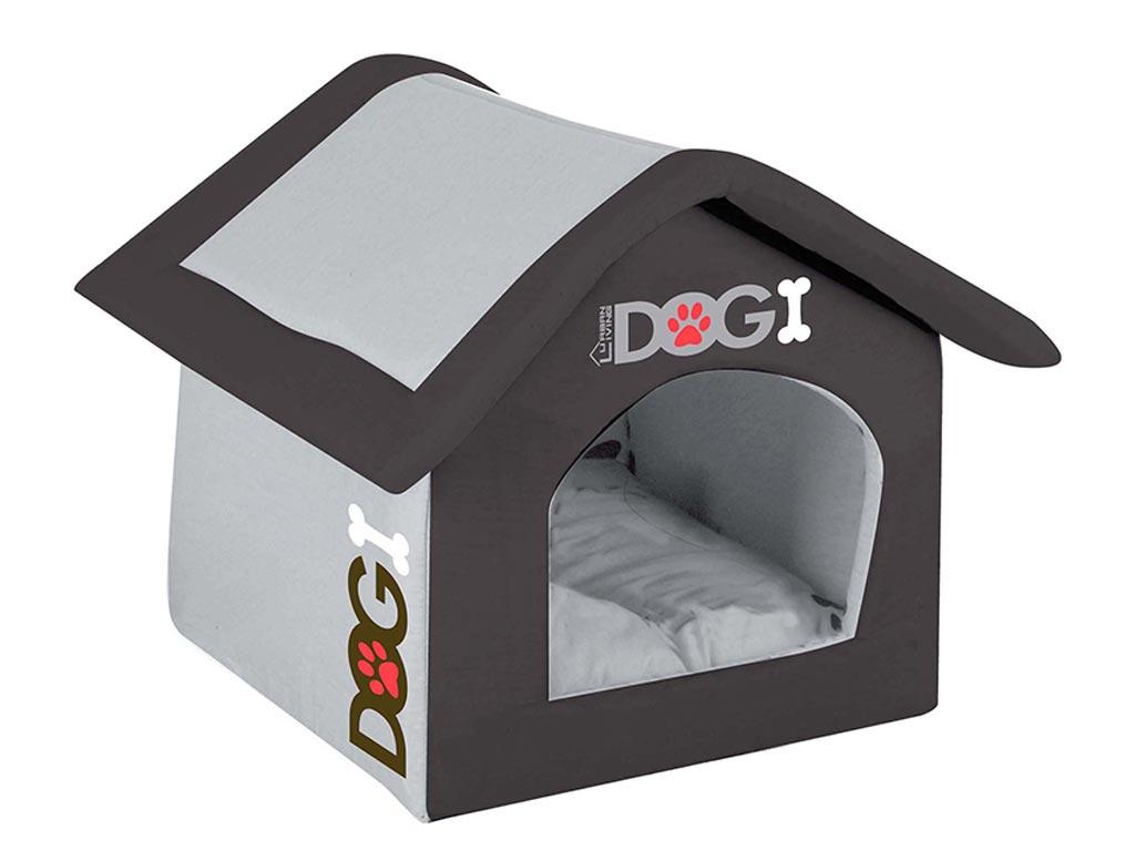 Σπιτάκι σκύλου σε γκρι μαύρο χρώμα, 40x35x42 cm - Urban Living