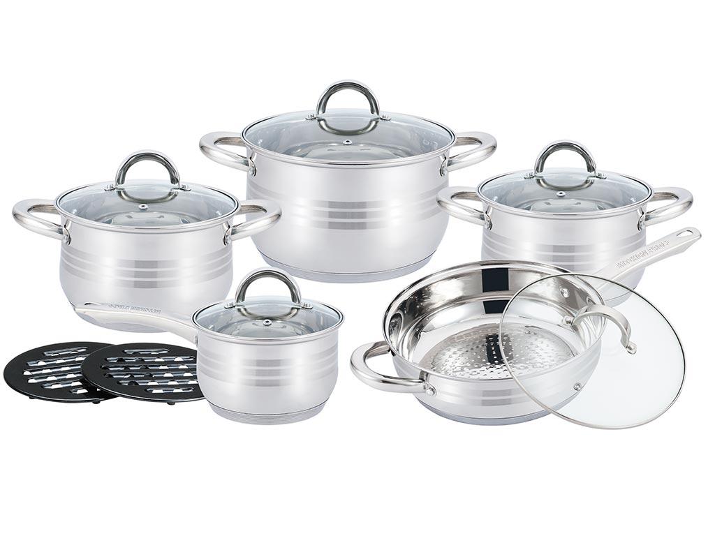 Σετ Μαγειρικά Σκεύη 12 τεμαχίων με πάτο Induction και Μεταλλική Επίστρωση, KP-1252 - Kitchen Pro+