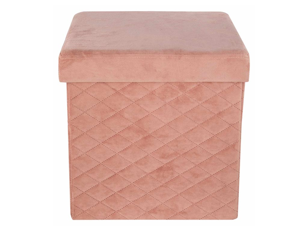 Βελούδινο Πτυσσόμενο Σκαμπό με αποθηκευτικό χώρο σε σομόν χρώμα, 37.5x37.5x37.5 cm - Aria Trade