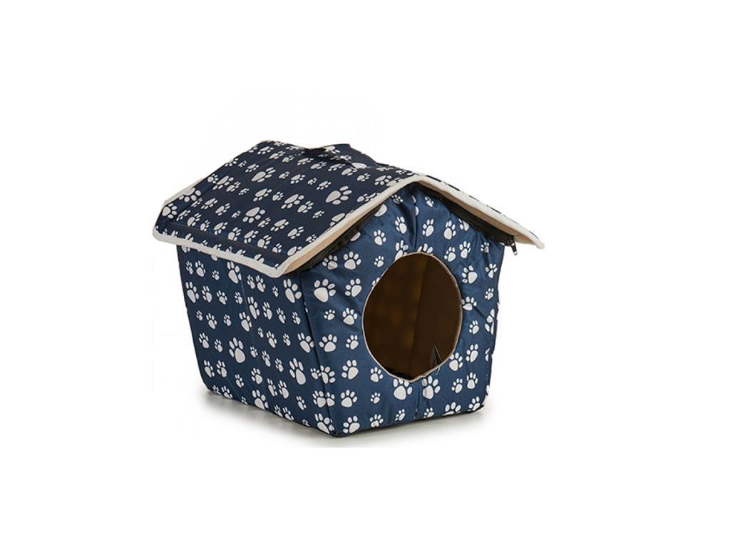 Αδιάβροχο Σπιτάκι Σκύλου με σχέδιο πατούσες σε 2 χρώματα, 36x33x38 cm Μπλε - Aria Trade