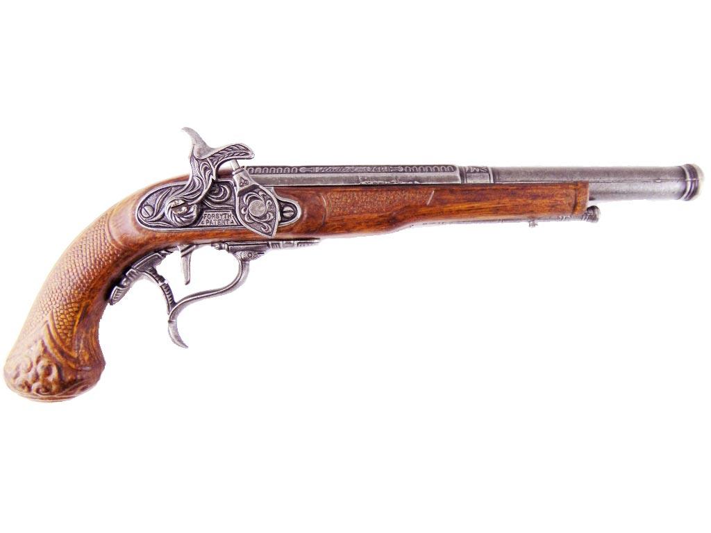 Διακοσμητικό Πιστόλι Όπλο Αντίκα σε καφέ χρώμα με ανάγλυφη λαβή και ασημί κάνη - Aria Trade