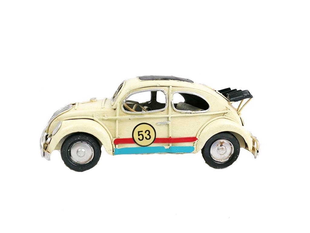 Διακοσμητική Μινιατούρα Αυτοκίνητο Σκαραβαίος σε εκρού χρώμα, μήκος 16 cm - Aria Trade