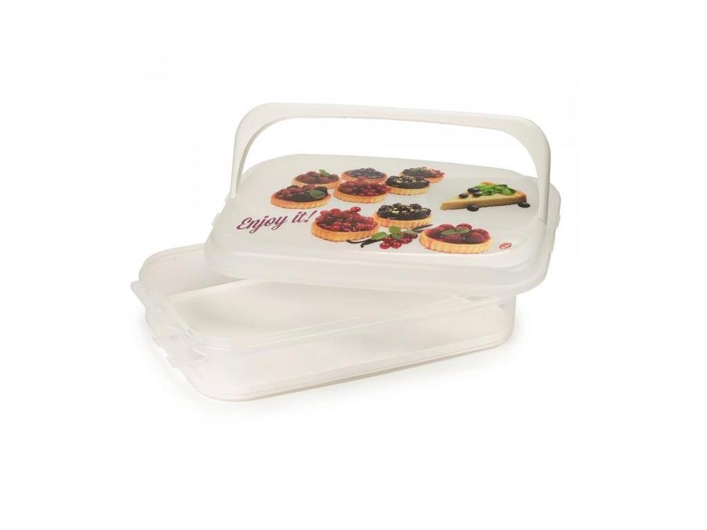 Δοχείο αποθήκευσης για Muffins και Cupcakes με λαβή σε λευκό χρώμα, 43x27.50x11 cm - Aria Trade