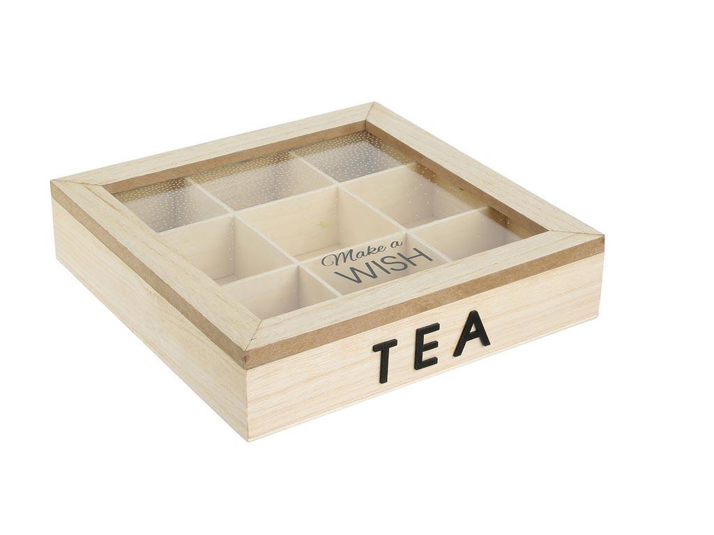 Ξύλινο Κουτί Αποθήκευσης για φακελάκια τσαγιού με 9 θέσεις, 21x21x5 cm, Tea box Σχέδιο 1 - Aria Trade