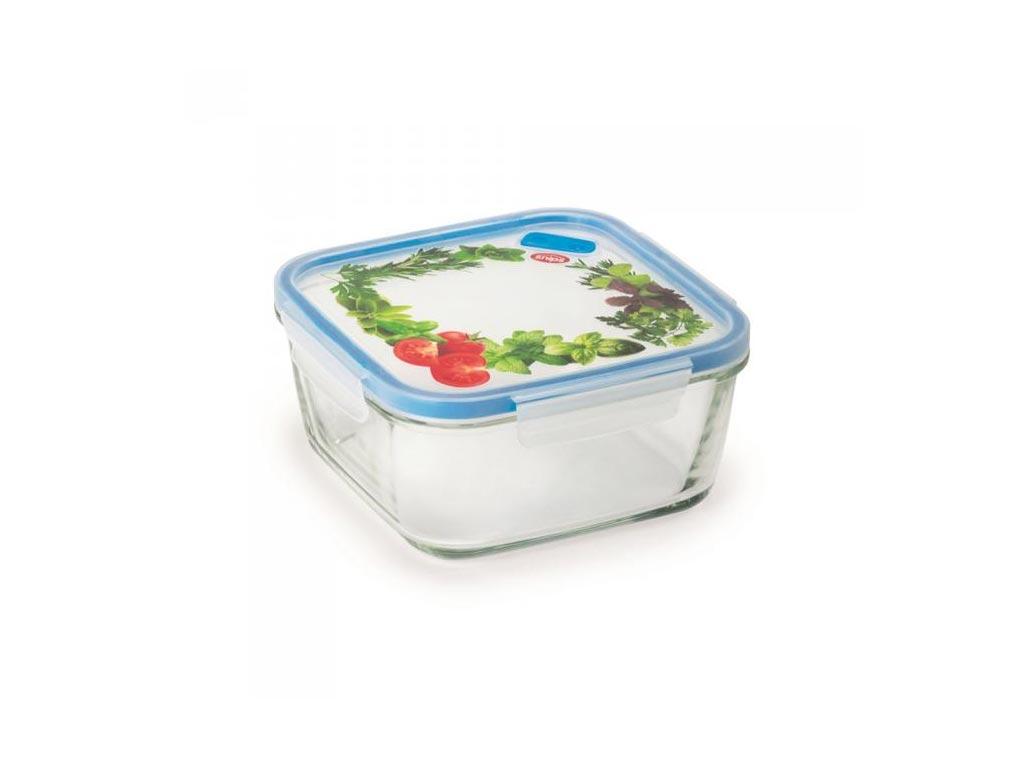 Γυάλινο Μπολ Αποθήκευσης με καπάκι κατάλληλο για φούρνο μικροκυμάτων, 15x15x7.50 cm - Aria Trade