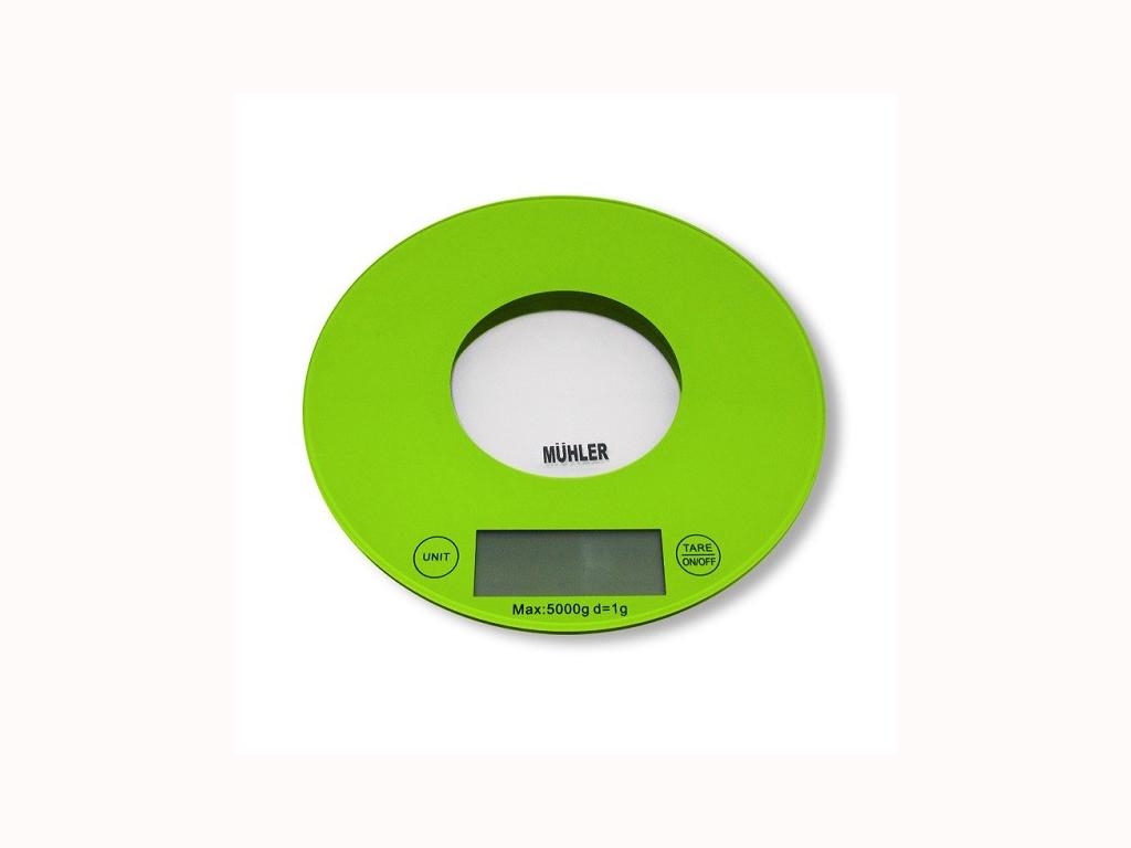 Muhler Ψηφιακή Γυάλινη Στρογγυλή Ζυγαριά Κουζίνας Ακριβείας 20cm έως 5Kg σε Πράσινο χρώμα, KSC-2020R - Muhler