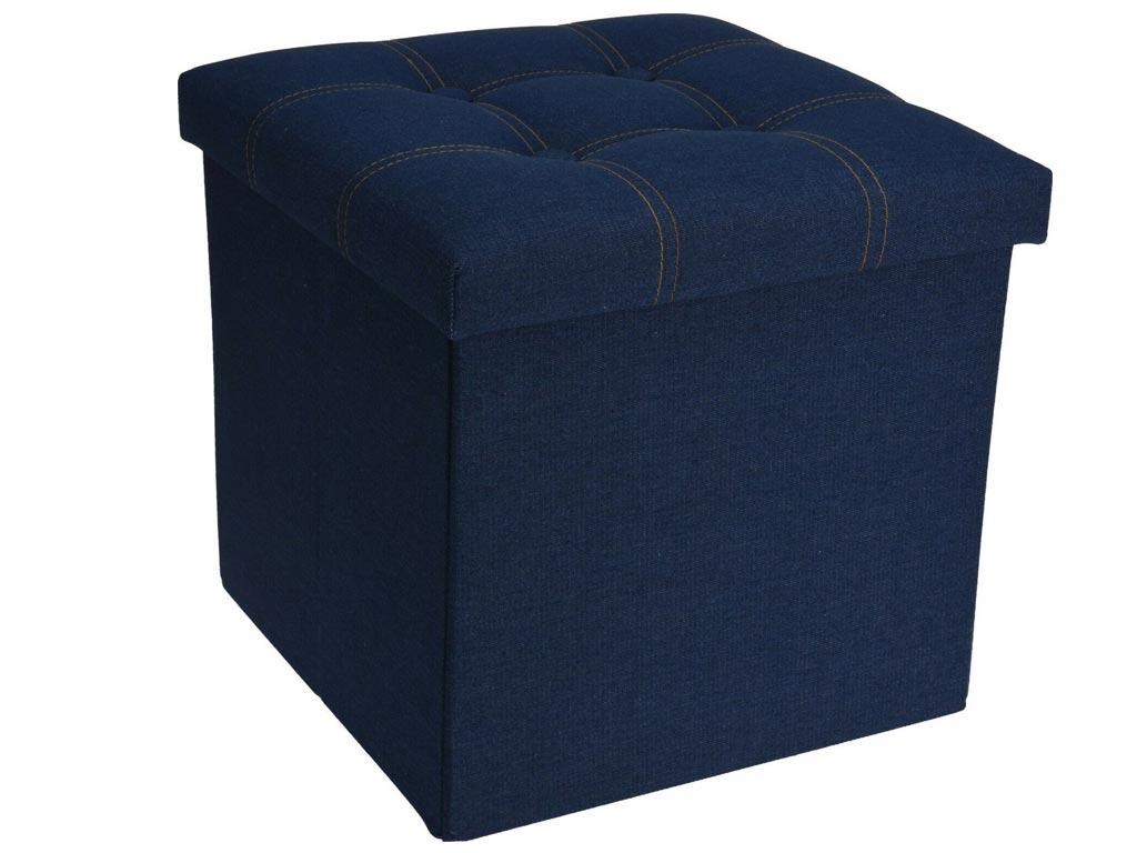 Πτυσσόμενο Υφασμάτινο Σκαμπό με αποθηκευτικό χώρο σε χρώμα Jean, 38x38x38 cm - Aria Trade
